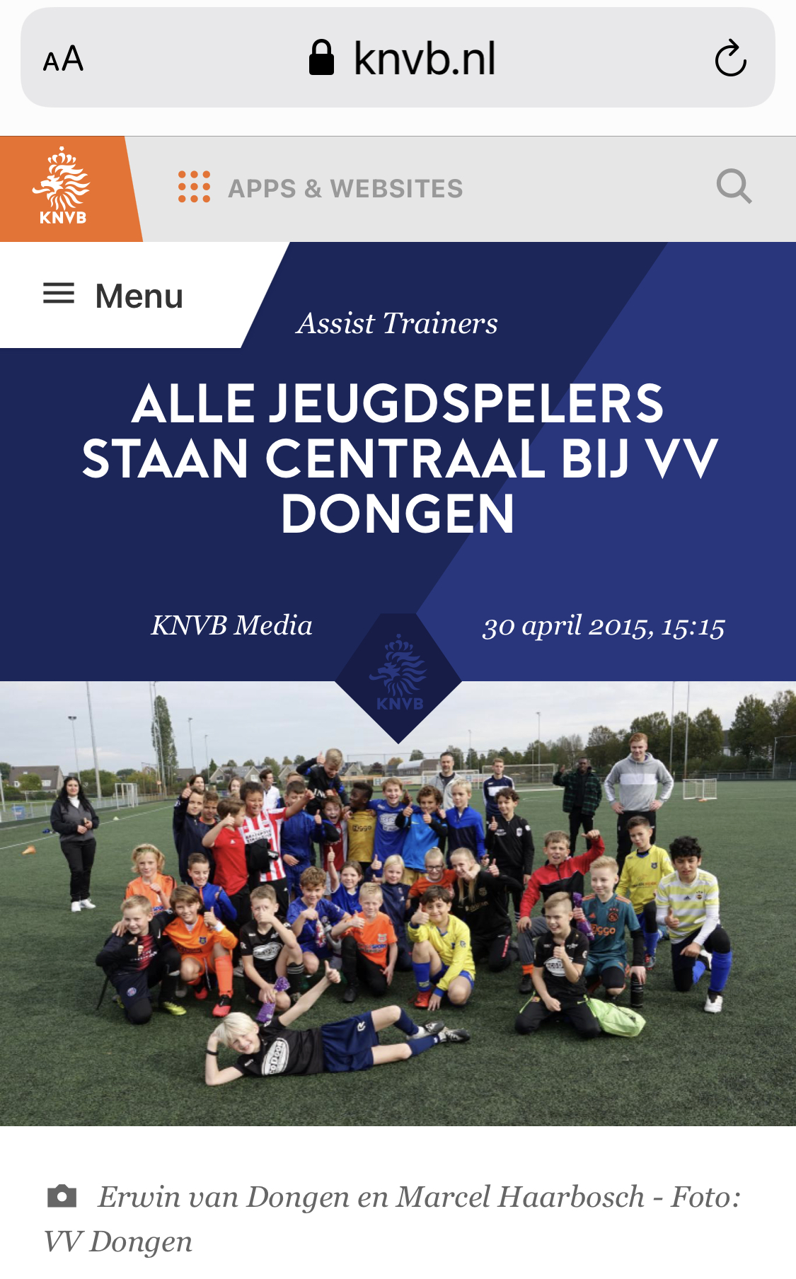 KNVB plaatst VV Dongen op hun site